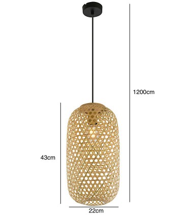 Medidas Lámpara Colgante de Bambú Natural alt:43cm