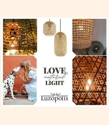Selección de Lámparas de madera, bambú, filtra natural.