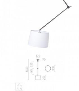 Dimensiones Lámpara Brazo Articulado Desplazable BROADWAY Cromo con Pantalla Ø30cm