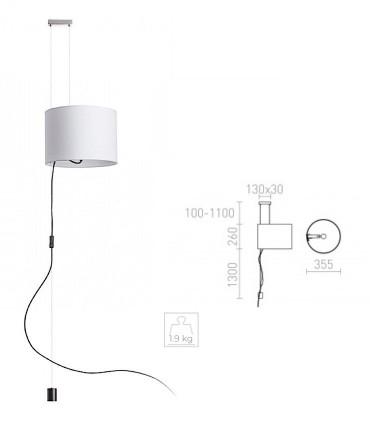 Dimensiones Lámpara colgante altura ajustable para techo sin toma de corriente Ø35.5cm BROADWAY