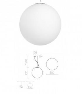 Dimensiones Lámpara Globo LUNEA 50 de vidrio opal triplex grande Ø50cm