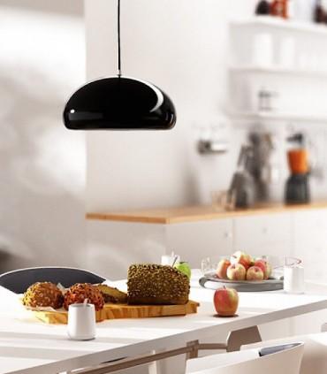 imagen de ambienteLámpara Campana ROZE 40 metal negro-blanco brillo Ø40cm