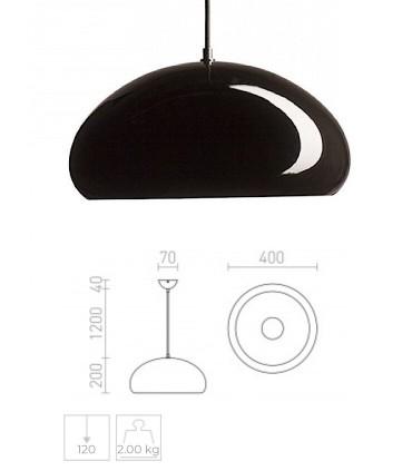 Dimensiones Lámpara Campana ROZE 40 metal negro-blanco brillo Ø40cm