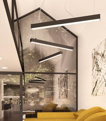 Imagen de ambiente Lámpara Suspensión Led Lineal PESANTE 75 40W 75cm Negro 3000K