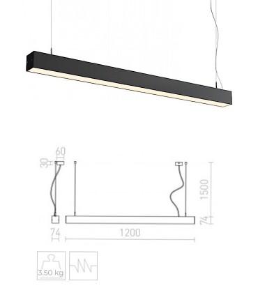 Dimensiones Lámpara Suspensión Led Lineal PESANTE 75 40W 75cm Aluminio-Negro 3000K