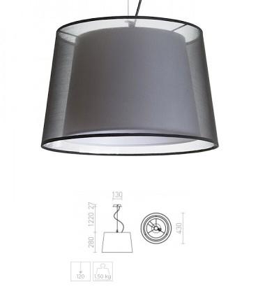 Dimensiones Lámpara Suspensión doble pantalla ESPLANADE Ø43cm