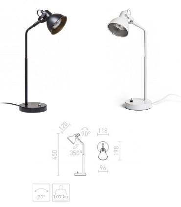 Dimensiones Lámpara de Mesa Retro ROSITA GU10 Blanco-Negro