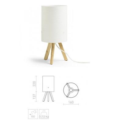 MedidasLámpara de Mesa RUMBA con trípode de madera Ø16cm