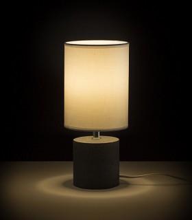 Lámpara iluminada de Mesa Base Hormigón y Pantalla CAMINO  Ø15cm