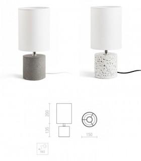 Dimensiones Lámpara de Mesa Base Terrazo-Hormigón y Pantalla CAMINO  Ø15cm
