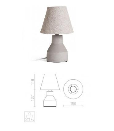 Dimensiones Lámpara de Mesa Hormigón y Pantalla HEIDI  Ø15cm