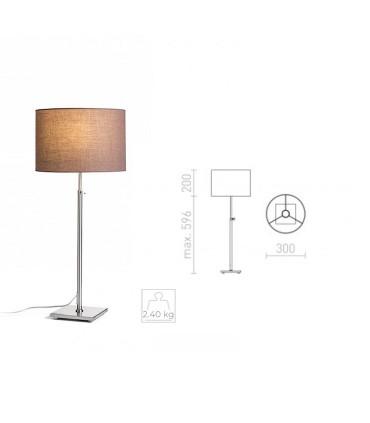Dimensiones Lámpara de mesa regulable en altura EDIKA níquel mate Ø30