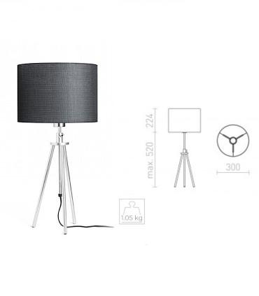 Dimensiones Lámpara de mesa trípode regulable en altura GARDETTE Aluminio Ø30