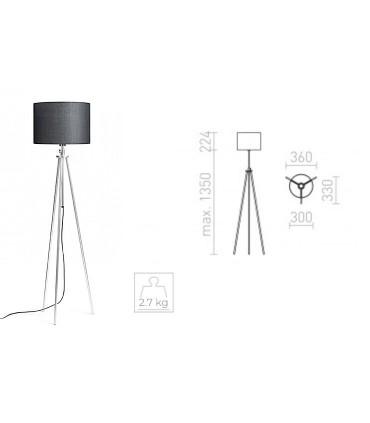 Dimensiones Lámpara de pie trípode regulable en altura GARDETTE  Aluminio Ø30