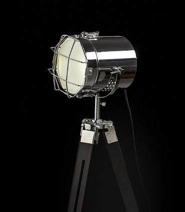 Detalle Lámpara de pie trípode proyector NAUTIC Cromo