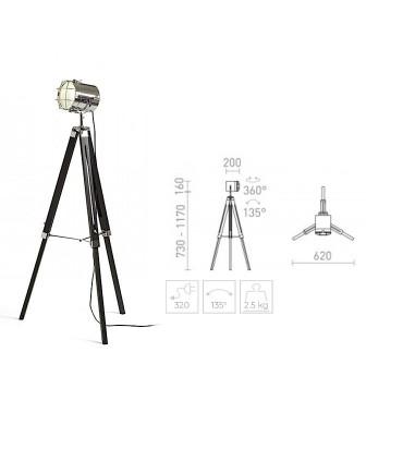 Dimensiones Lámpara de pie trípode proyector NAUTIC Cromo
