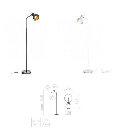 Dimensiones Lámpara de Pie Retro ROSITA GU10 Blanco-Negro