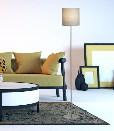 Imagen de ambiente Lampara de pie Pantalla textil ETESIAN Gris Ø23cm