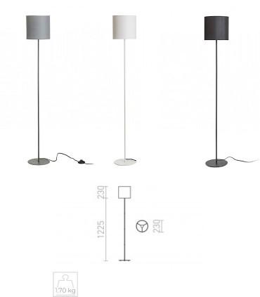 Dimensiones Lámpara de pie Pantalla textil ETESIAN Blanco-Gris-Negro Ø23cm