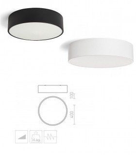 Dimensiones Plafón Led redondo Mezzo 30W 40cm Dimmable Negro-Blanco 3000K