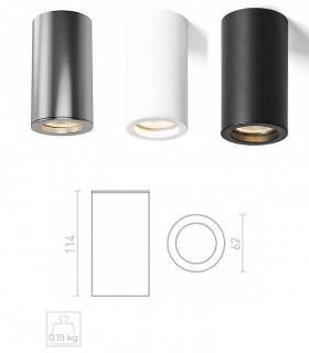 Dimensiones Foco De Superficie MOMA GU10 Blanco-Negro-Níquel