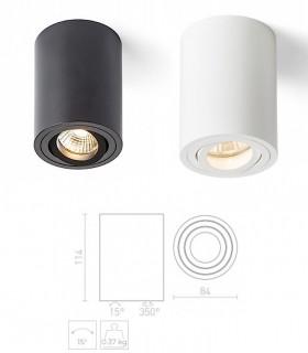 Dimensiones Foco De Superficie MOMINC GU10 Blanco-Negro