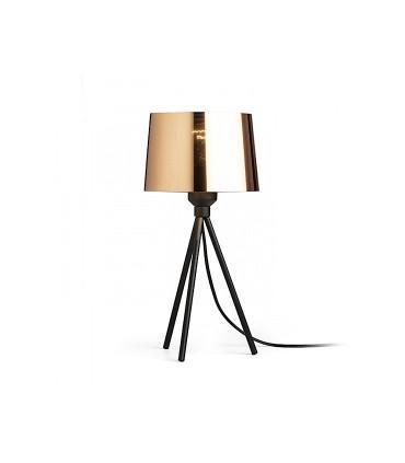 Lámpara de mesa trípode pantalla cobre iluminada