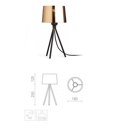 Dimensiones Lámpara de mesa trípode pantalla cobre SENSATION Ø18