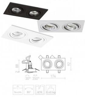 Dimensiones Aro doble empotrado GU10 PASADENA Blanco, Negro o Aluminio