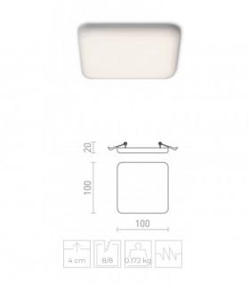 Dimensiones Foco Empotrable Led IP65 BELIC Cuadrado 8W 645lm 3000K sin marcos