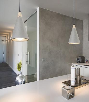 Lámpara Colgante Hormigón-Madera HEIDI E27 Ø14,8cm
