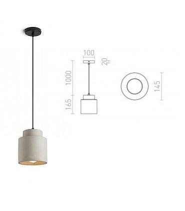 Dimensiones Lámpara Colgante Hormigón PEZZO E27 Ø14,8cm