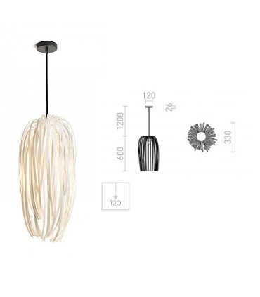 Dimensiones Lámpara Colgante ZALA Blanco Ø54cm
