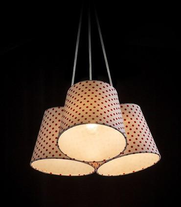 Lámpara 3 Pantallas Blanco/Rojo NANCY Ø30cm