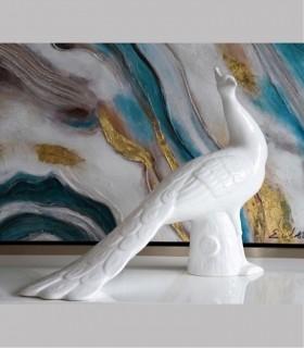 Figura PAVO REAL ceramica color blanco
