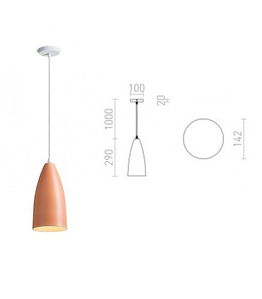 Dimensiones Lámpara Colgante Naranja TUTTI E27 Ø14,2cm