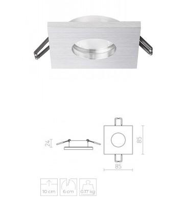Dimensiones Aro foco empotrable IP65 Cuadrado ASTOR SQ Aluminio
