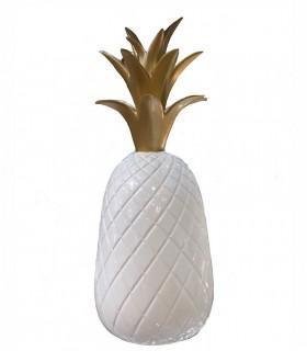 PIÑA grande en ceramica blanco y oro