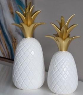 PIÑA pequeña en cerámica blanco y oro