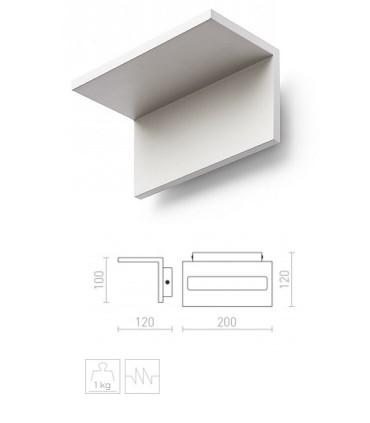 Dimensiones Aplique de pared LED Blanco 12W  FOND 3000K 1300lm
