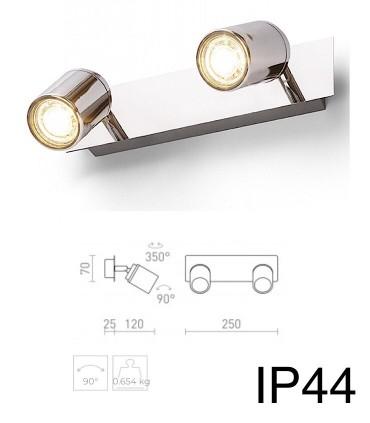 Dimensiones Regleta 2 focos cromo DUBLIN II GU10 IP44