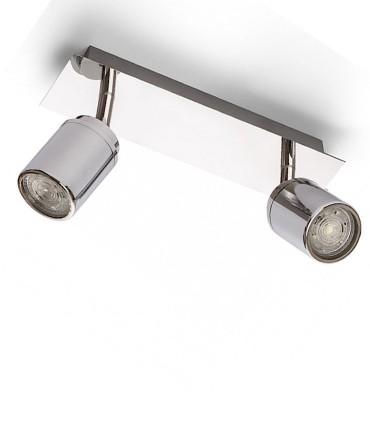 Regleta 2 focos cromo apta para baño con IP44 GU10