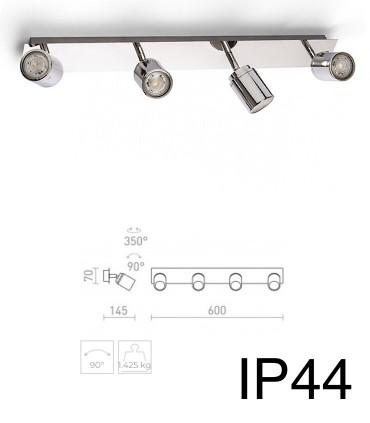 Dimensiones Regleta 4 focos cromo DUBLIN IV GU10 IP44