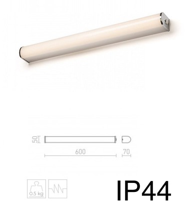 Dimensiones Aplique para espejo baño led 15W IP44 Cromo CORAZON 60CM