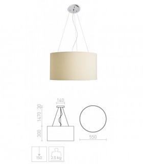 Dimensiones Lámpara de techo con pantalla beige LALO SUSPENDIDA 55 Ø55cm