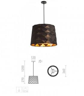 Dimensiones Lámpara de techo con pantalla negro FLAMENCO E27 Ø36cm