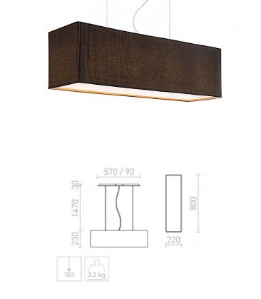 Dimensiones Lámpara de techo con pantalla rectangular negra LOPE 80cm