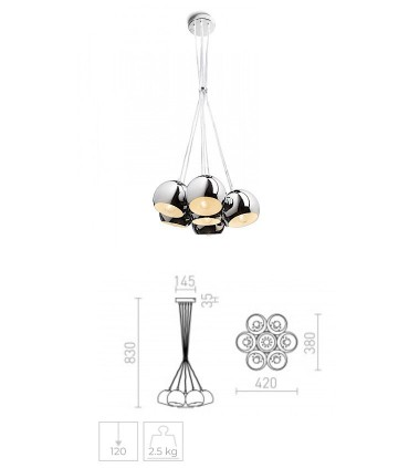 Dimensiones Lámpara de techo 7 luces E27 cromo ASTROMET