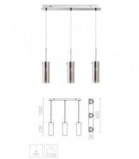 Dimensiones Lámpara 3 Colgantes Vidrio Cromo SANSSOUCI III GU10