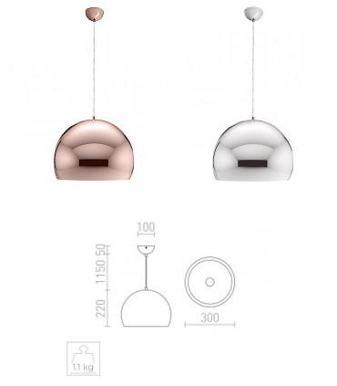 Dimensiones Lámpara colgante ASTON 30 cobre o cromo Ø30cm